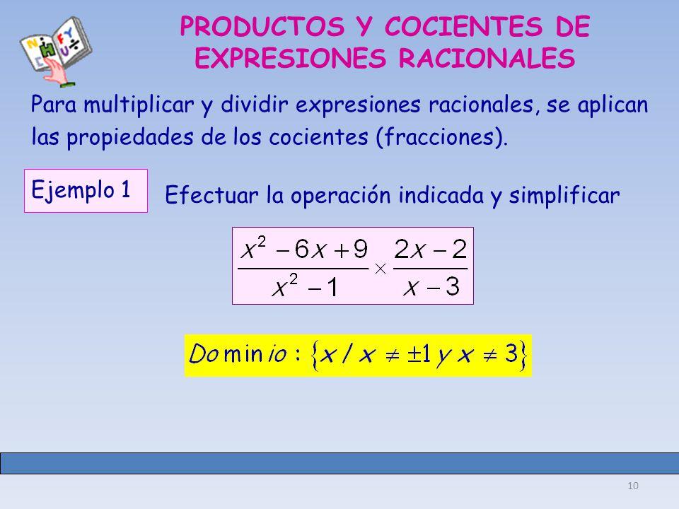 PRODUCTOS Y COCIENTES DE EXPRESIONES RACIONALES
