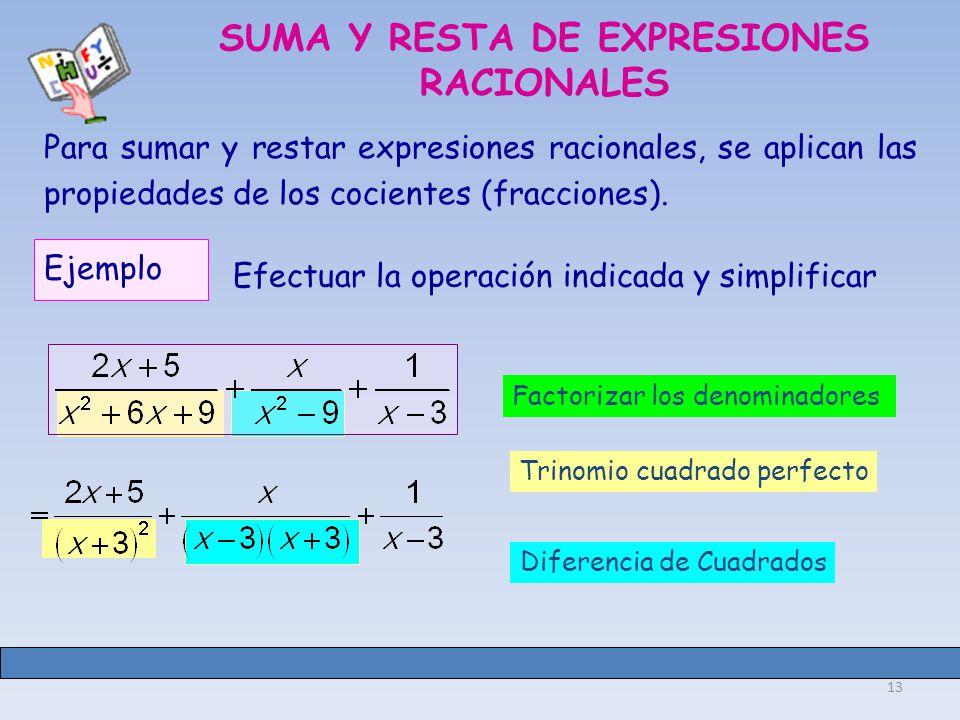 SUMA Y RESTA DE EXPRESIONES RACIONALES
