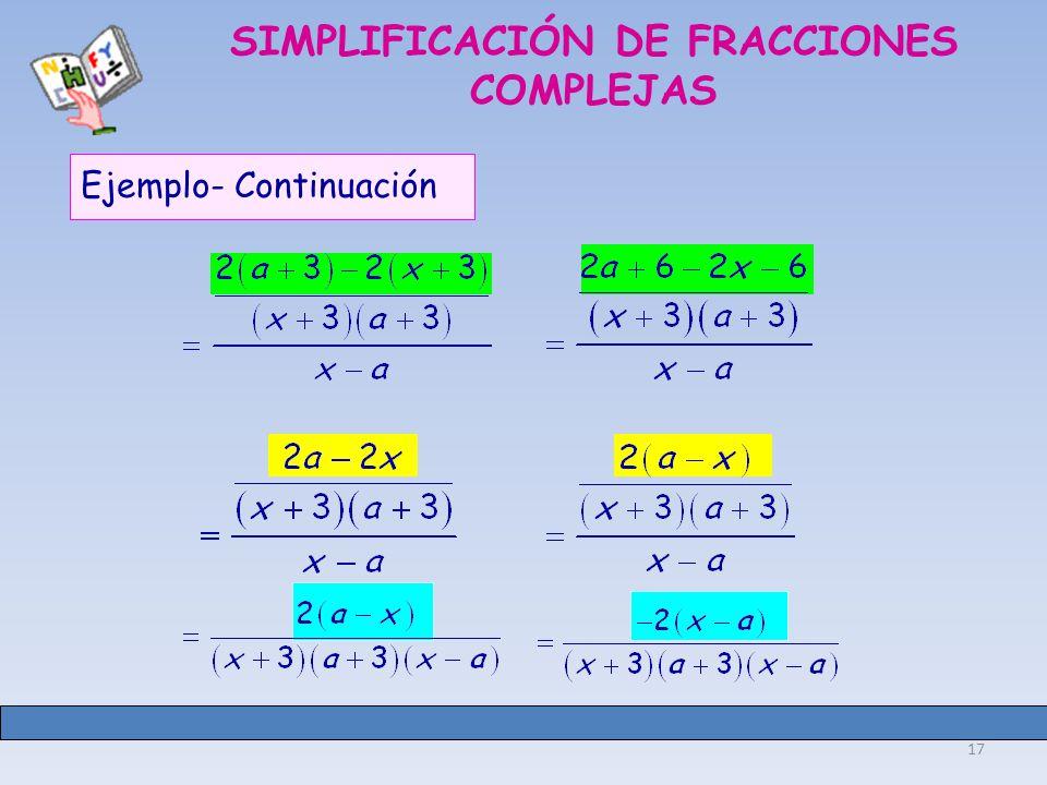 SIMPLIFICACIÓN DE FRACCIONES COMPLEJAS