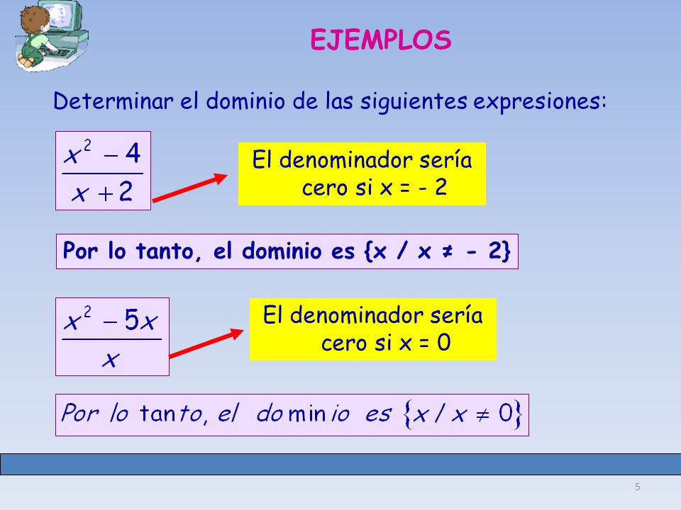 Por lo tanto, el dominio es {x / x ≠ - 2}