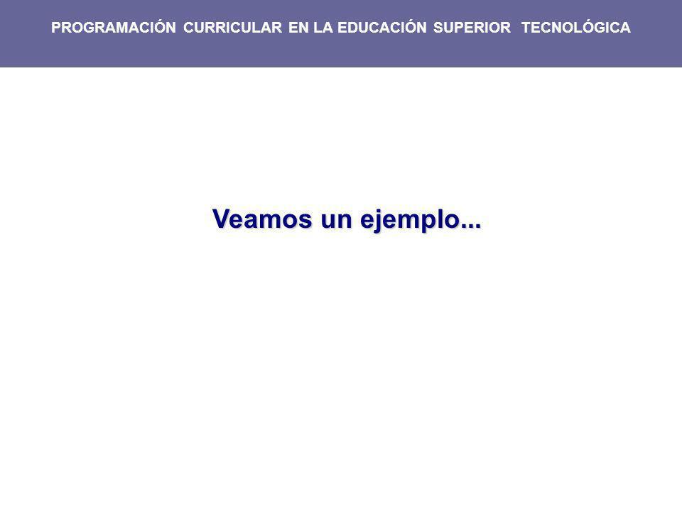 PROGRAMACIÓN CURRICULAR EN LA EDUCACIÓN SUPERIOR TECNOLÓGICA
