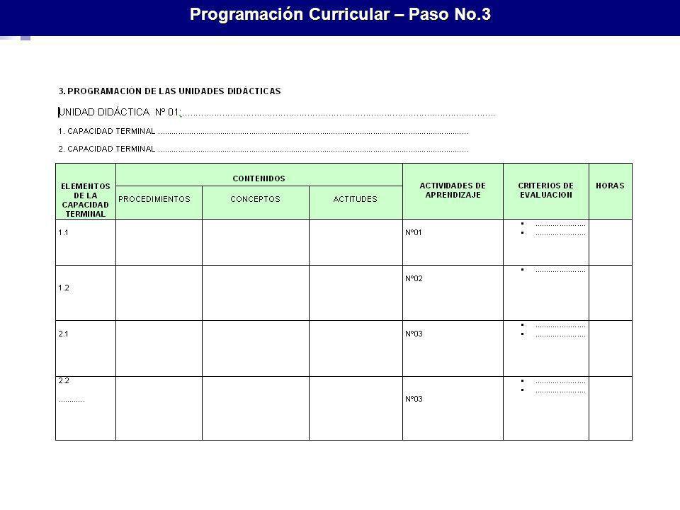 Programación Curricular – Paso No.3
