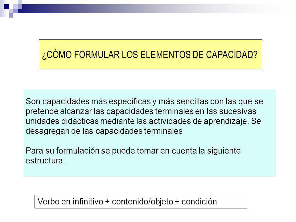 ¿CÓMO FORMULAR LOS ELEMENTOS DE CAPACIDAD