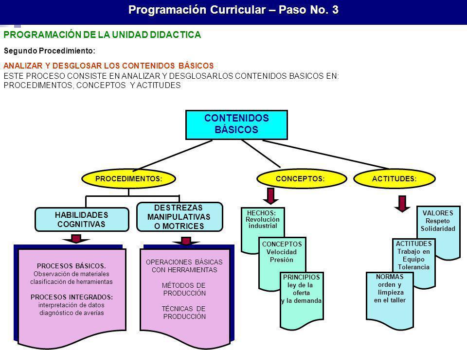 Programación Curricular – Paso No. 3