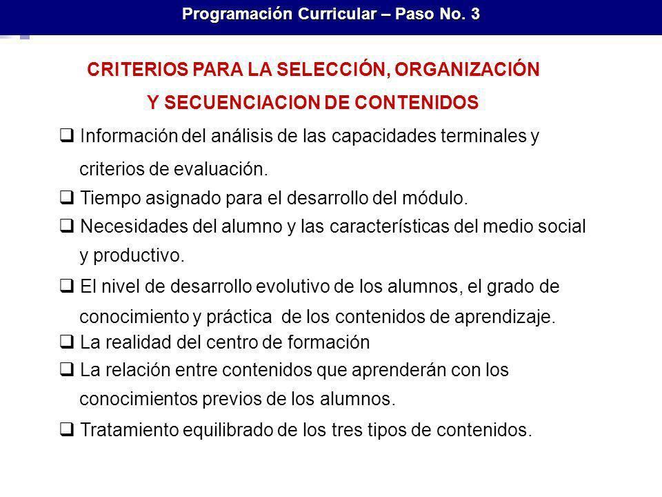 CRITERIOS PARA LA SELECCIÓN, ORGANIZACIÓN