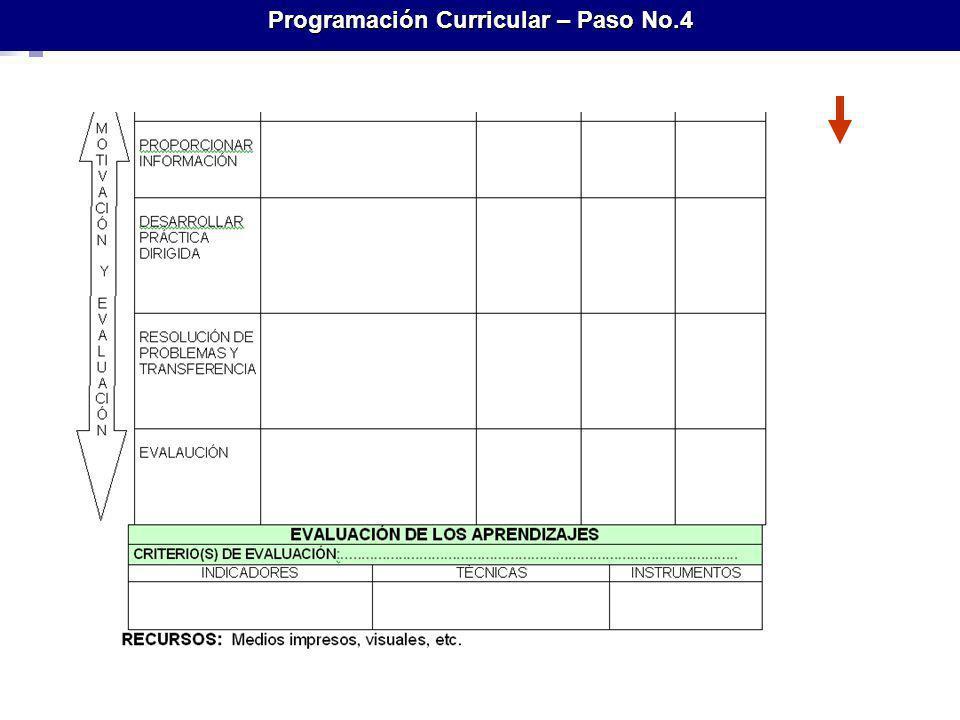 Programación Curricular – Paso No.4