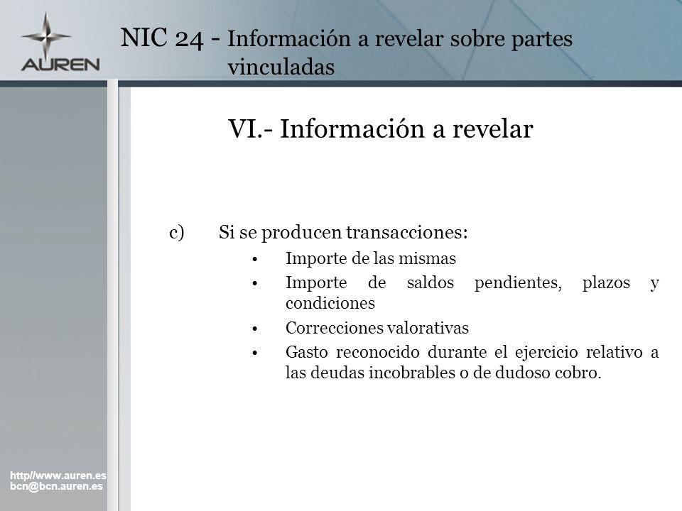 VI.- Información a revelar