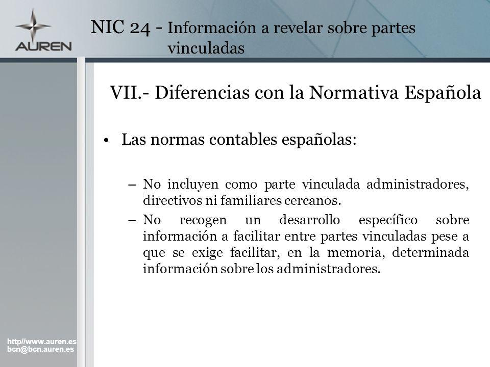 VII.- Diferencias con la Normativa Española