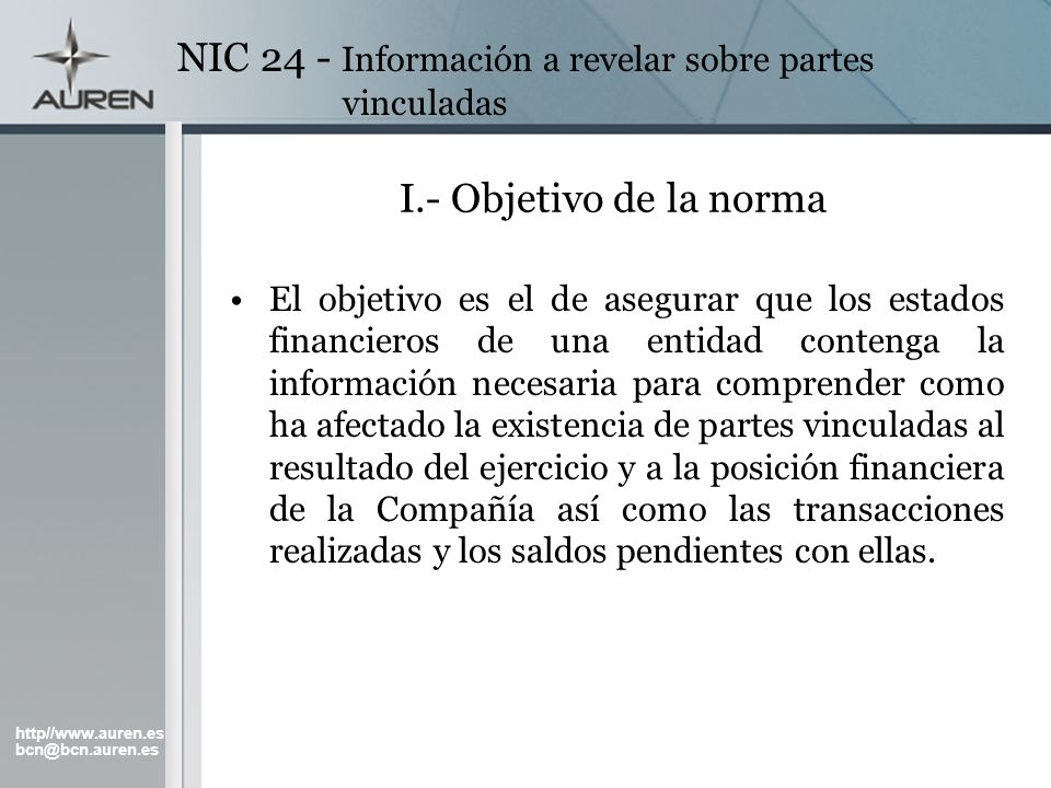 NIC 24 - Información a revelar sobre partes vinculadas