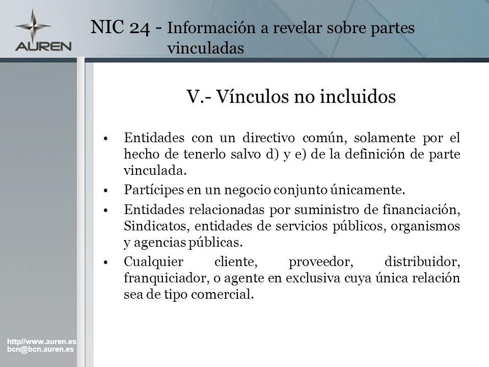 V.- Vínculos no incluidos