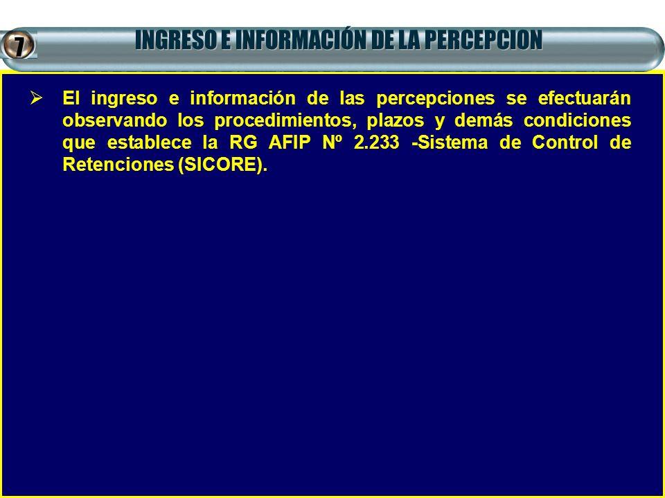 INGRESO E INFORMACIÓN DE LA PERCEPCION