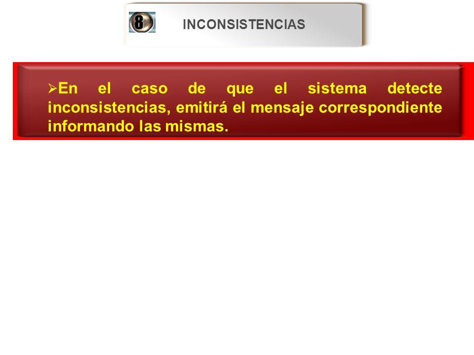 INCONSISTENCIAS 8. En el caso de que el sistema detecte inconsistencias, emitirá el mensaje correspondiente informando las mismas.