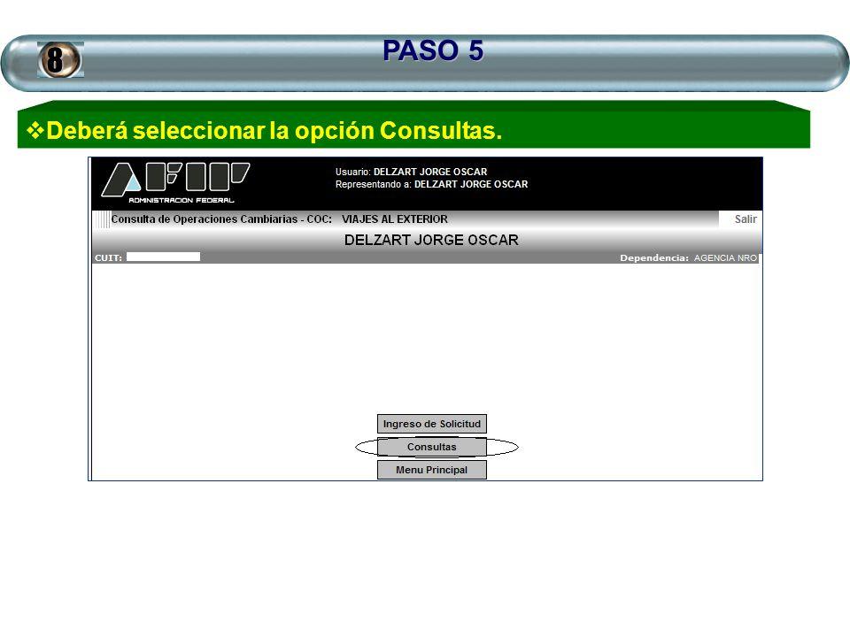 PASO 5 8 Deberá seleccionar la opción Consultas.