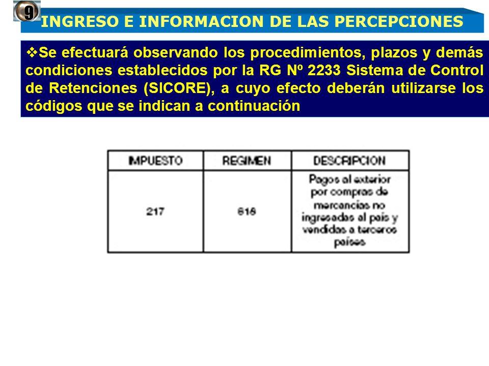 INGRESO E INFORMACION DE LAS PERCEPCIONES