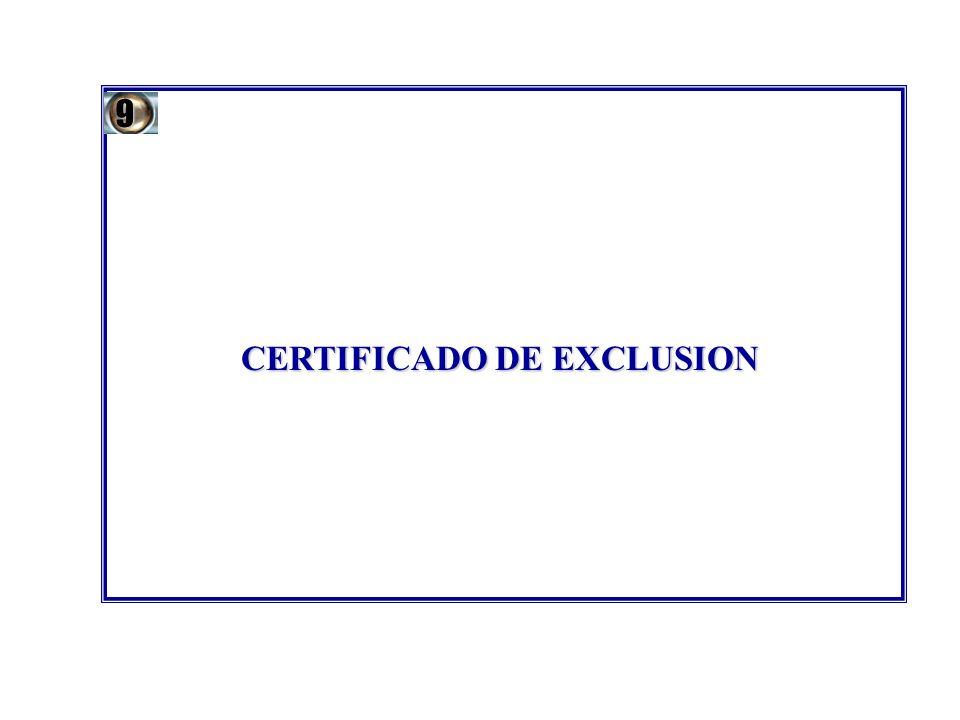CERTIFICADO DE EXCLUSION