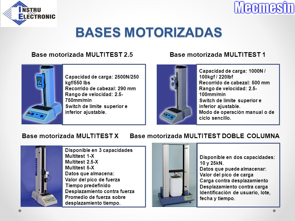 BASES MOTORIZADAS Base motorizada MULTITEST 2.5 Base motorizada MULTITEST 1 Base motorizada MULTITEST X Base motorizada MULTITEST DOBLE COLUMNA