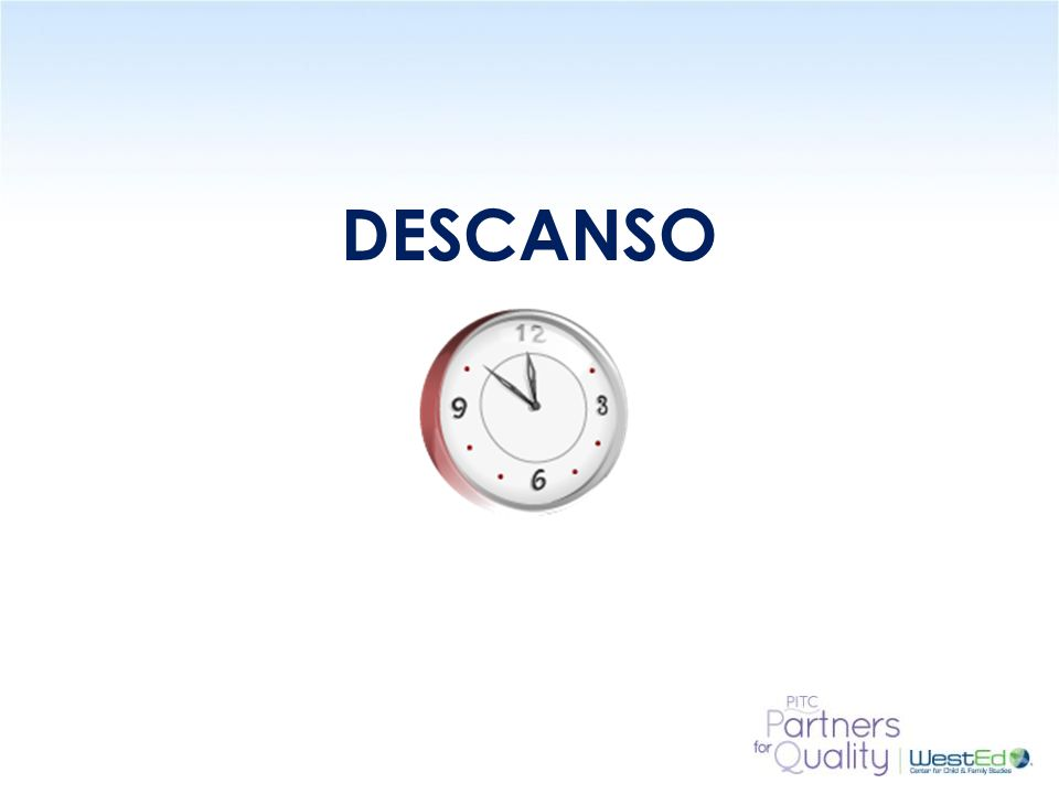 DESCANSO 15 Minute Break – ask participants to please return in 15 minutes or if this is done in 2 hour sessions this will be the end of the session.