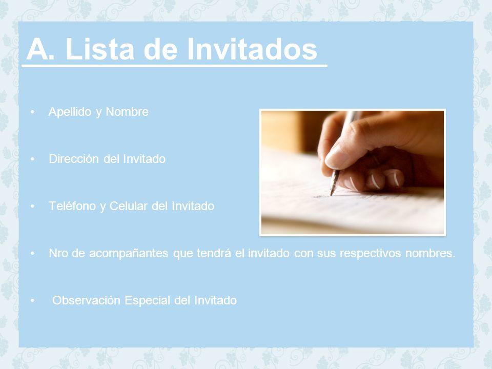 A. Lista de Invitados Apellido y Nombre Dirección del Invitado