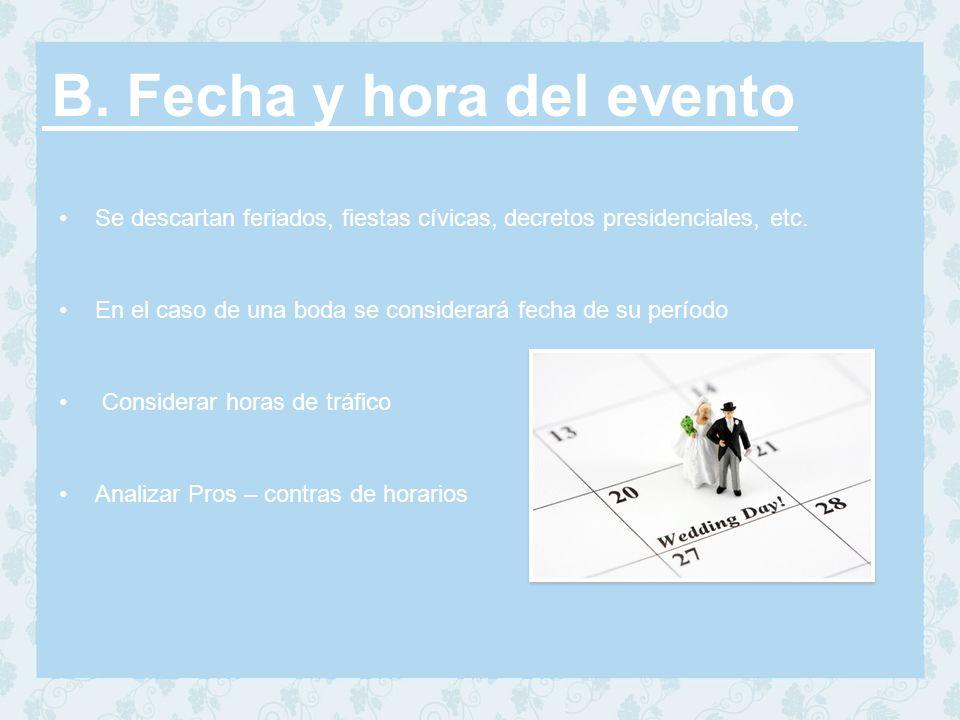 B. Fecha y hora del evento