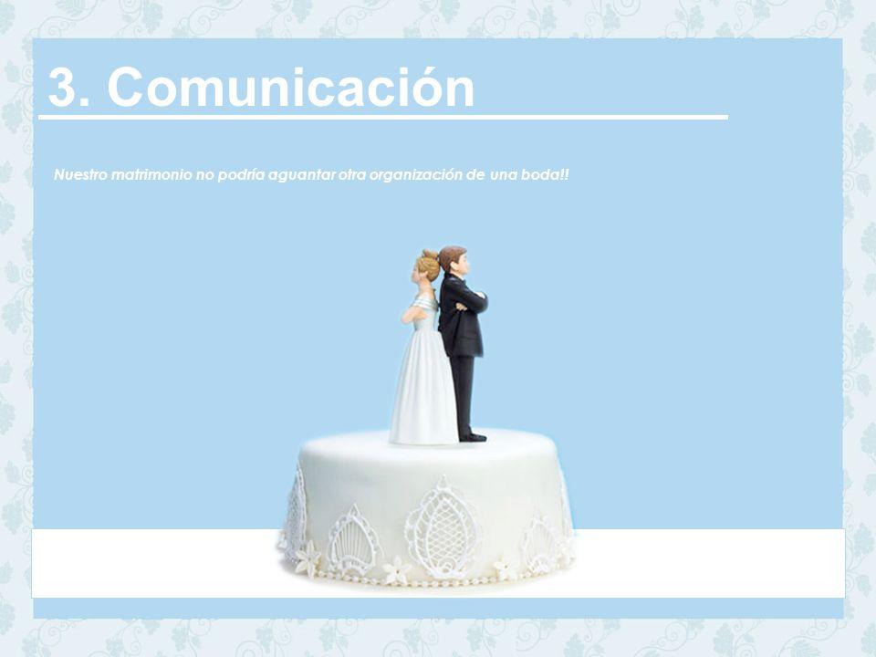 3. Comunicación Nuestro matrimonio no podría aguantar otra organización de una boda!!
