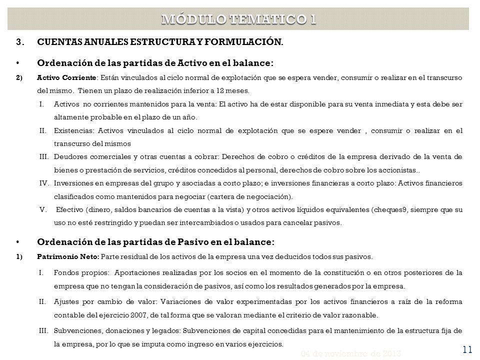 MÓDULO TEMATICO 1 CUENTAS ANUALES ESTRUCTURA Y FORMULACIÓN.