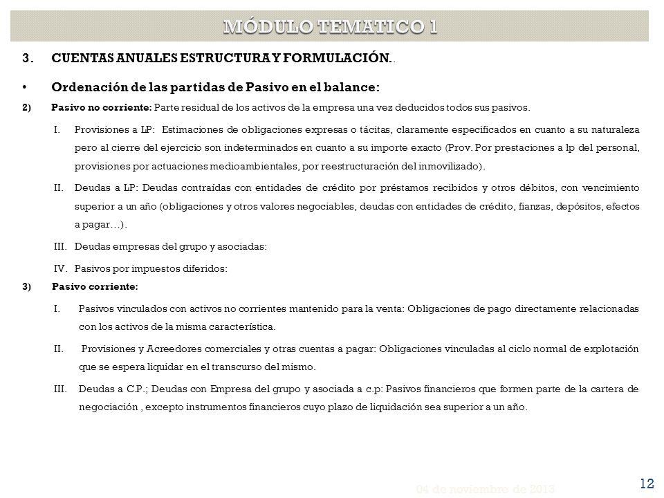 MÓDULO TEMATICO 1 CUENTAS ANUALES ESTRUCTURA Y FORMULACIÓN..