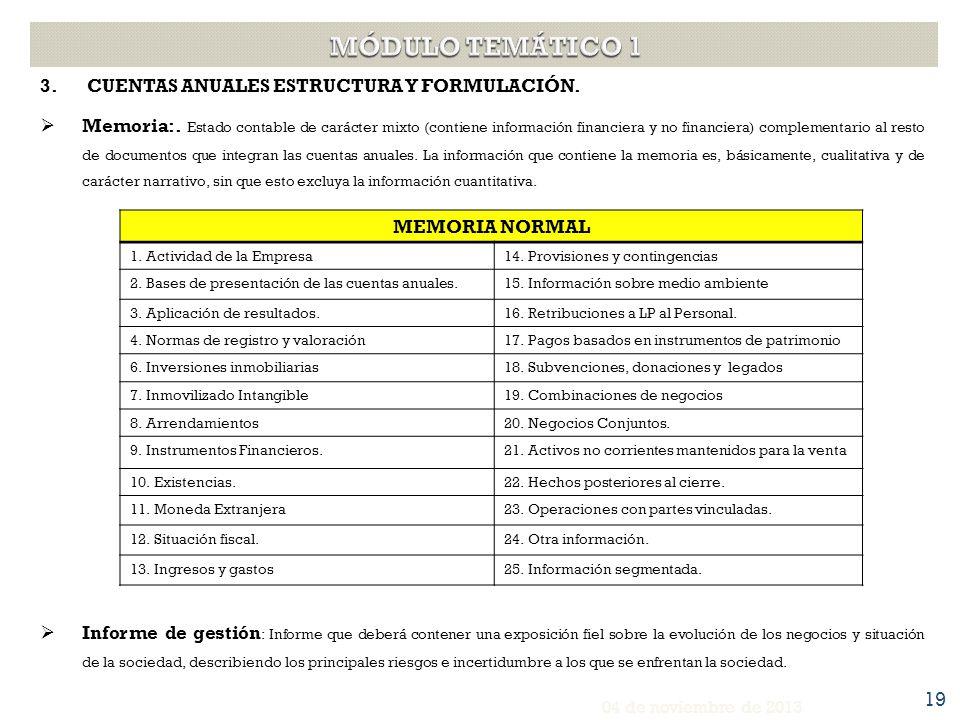 MÓDULO TEMÁTICO 1 CUENTAS ANUALES ESTRUCTURA Y FORMULACIÓN.