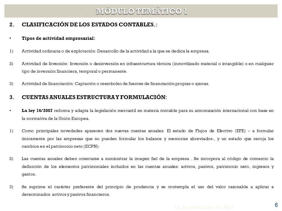 MÓDULO TEMÁTICO 1 CLASIFICACIÓN DE LOS ESTADOS CONTABLES.: