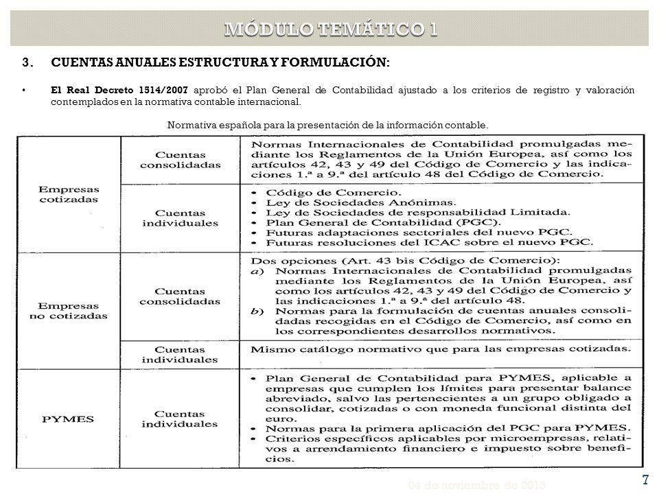 Normativa española para la presentación de la información contable.