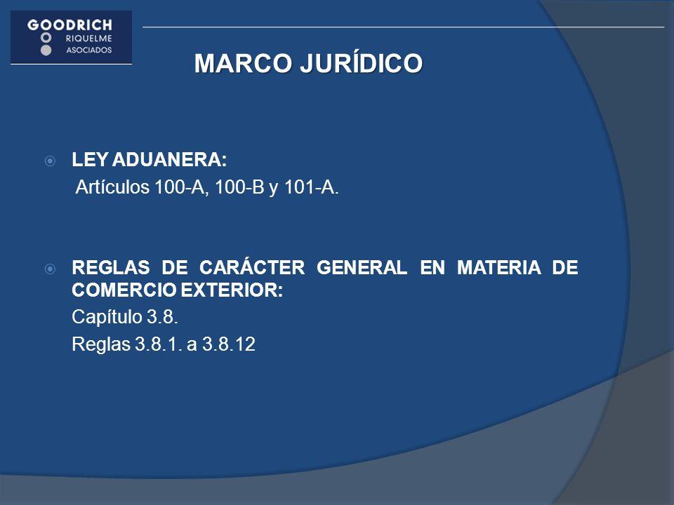 MARCO JURÍDICO LEY ADUANERA: Artículos 100-A, 100-B y 101-A.