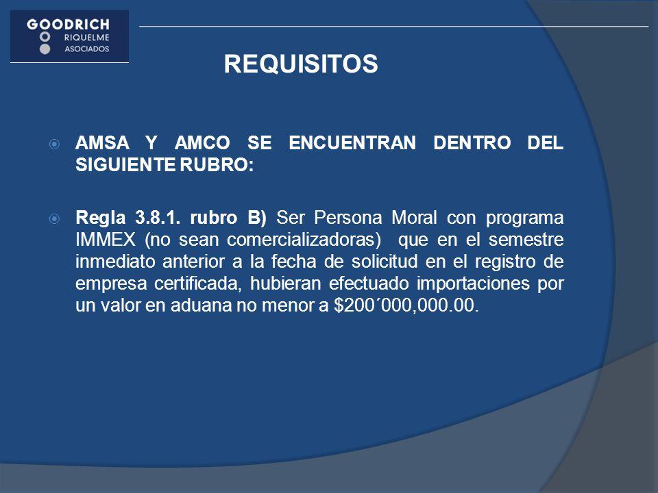 REQUISITOS AMSA Y AMCO SE ENCUENTRAN DENTRO DEL SIGUIENTE RUBRO: