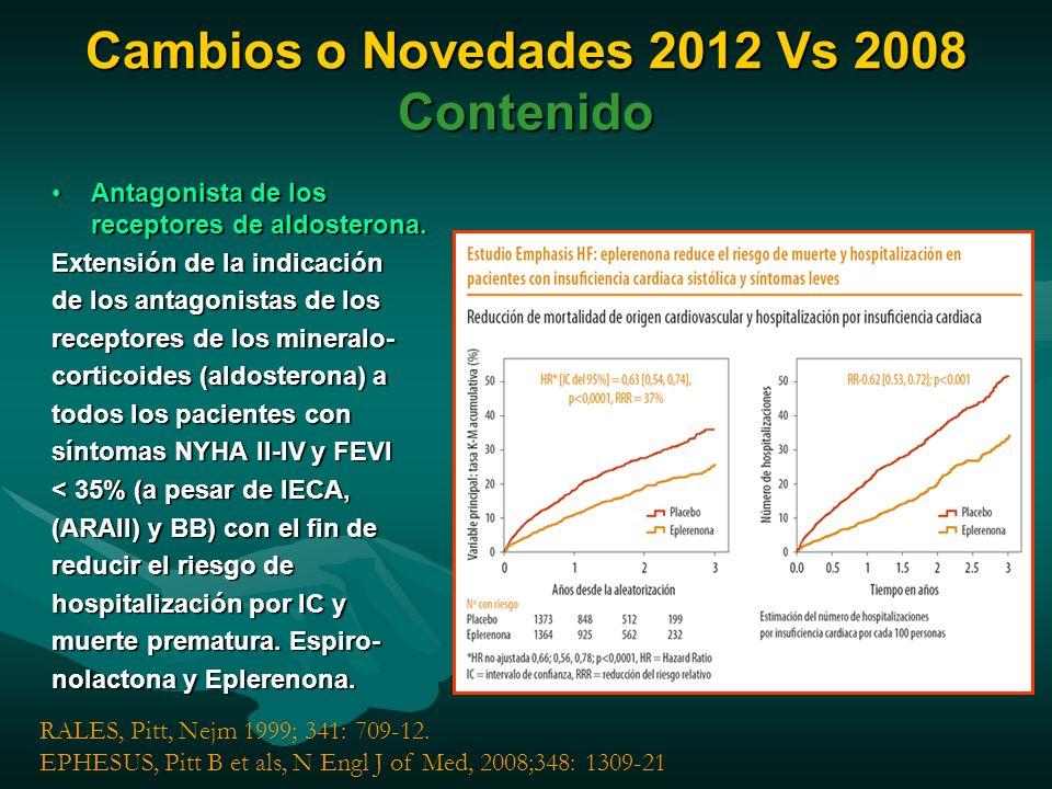 Cambios o Novedades 2012 Vs 2008 Contenido