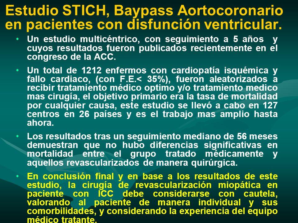 Estudio STICH, Baypass Aortocoronario en pacientes con disfunción ventricular.