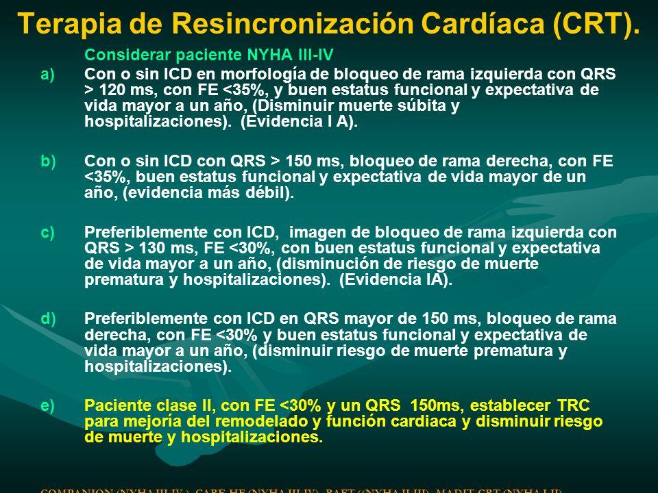Terapia de Resincronización Cardíaca (CRT).