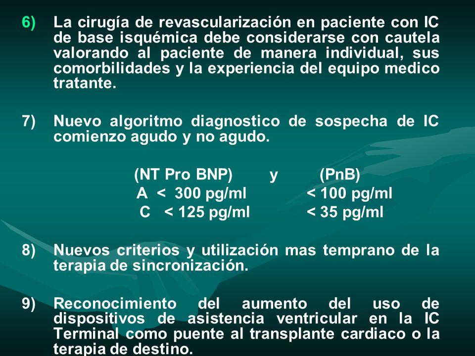 La cirugía de revascularización en paciente con IC de base isquémica debe considerarse con cautela valorando al paciente de manera individual, sus comorbilidades y la experiencia del equipo medico tratante.