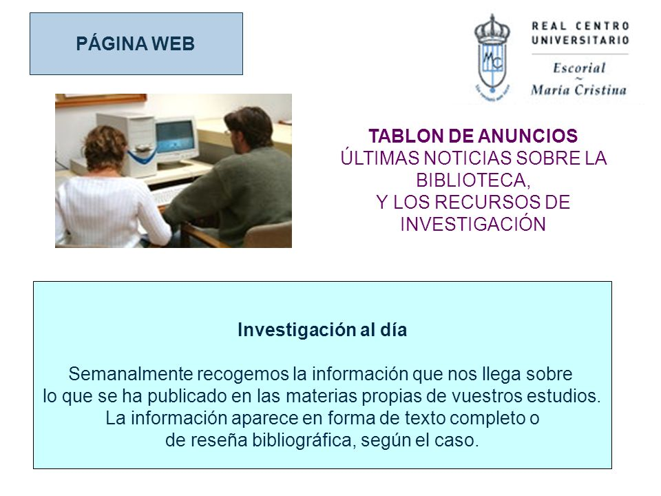 PÁGINA WEB TABLON DE ANUNCIOS Investigación al día