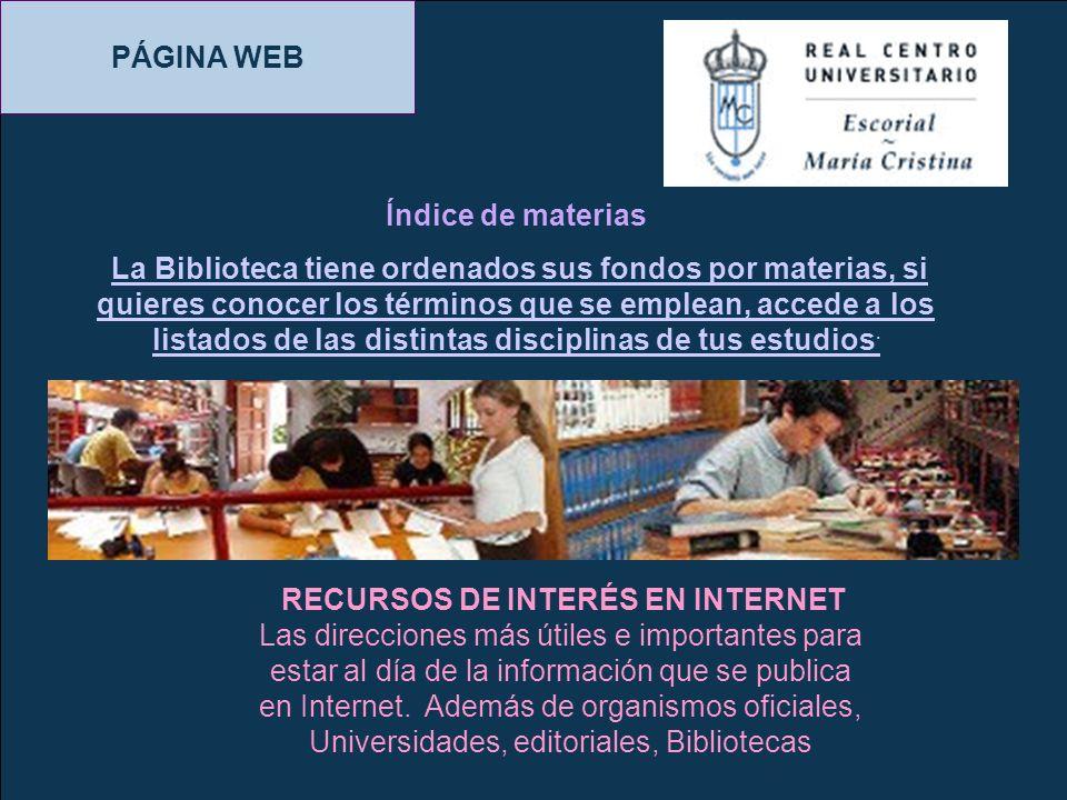 PÁGINA WEB Índice de materias
