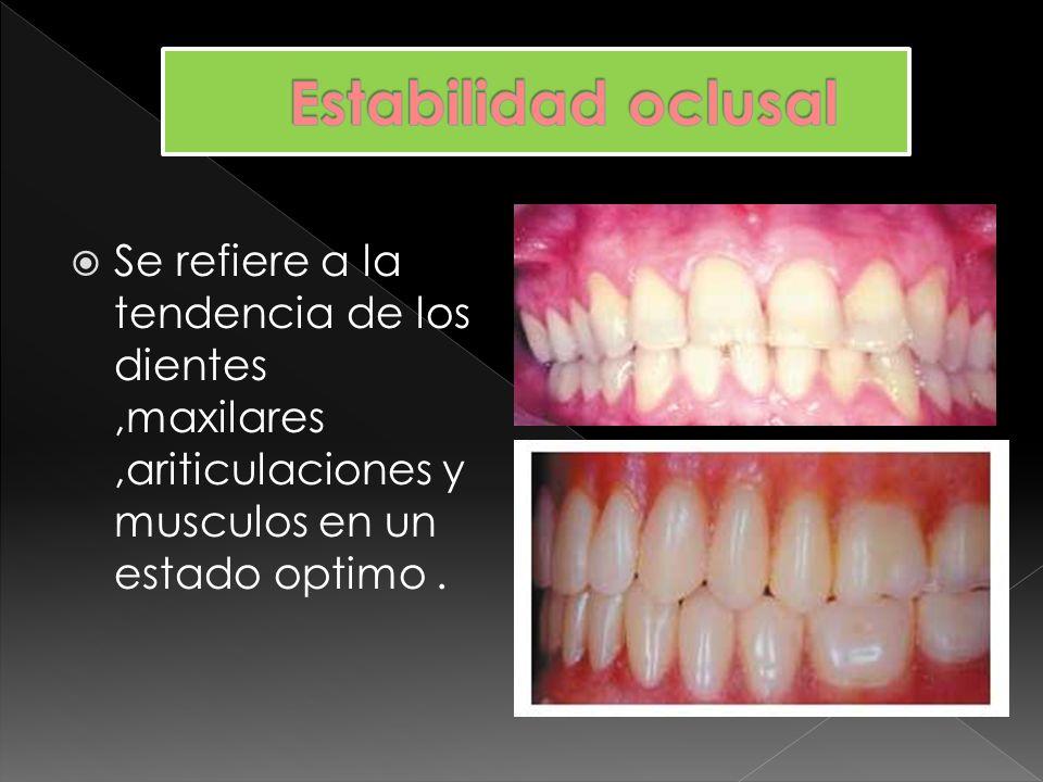 Estabilidad oclusalSe refiere a la tendencia de los dientes ,maxilares ,ariticulaciones y musculos en un estado optimo .