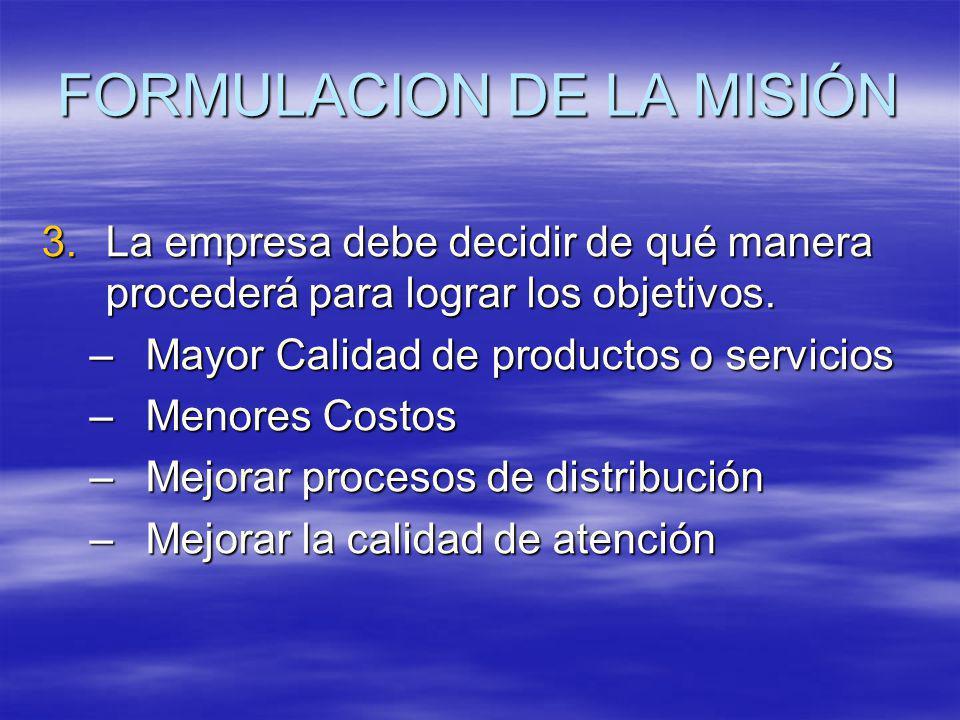 FORMULACION DE LA MISIÓN