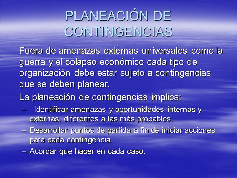 PLANEACIÓN DE CONTINGENCIAS