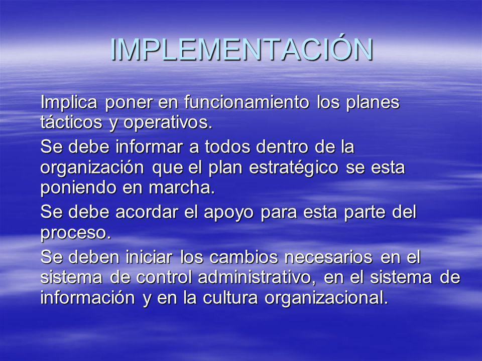 IMPLEMENTACIÓN Implica poner en funcionamiento los planes tácticos y operativos.