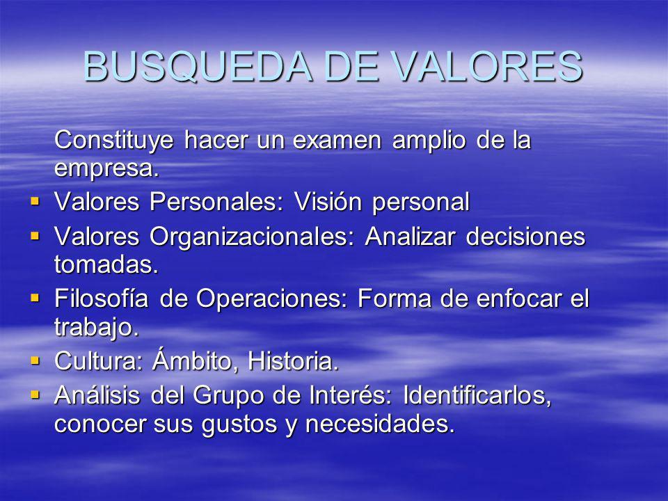 BUSQUEDA DE VALORES Constituye hacer un examen amplio de la empresa.