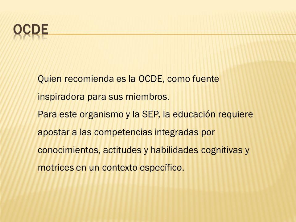 OCDE Quien recomienda es la OCDE, como fuente inspiradora para sus miembros.