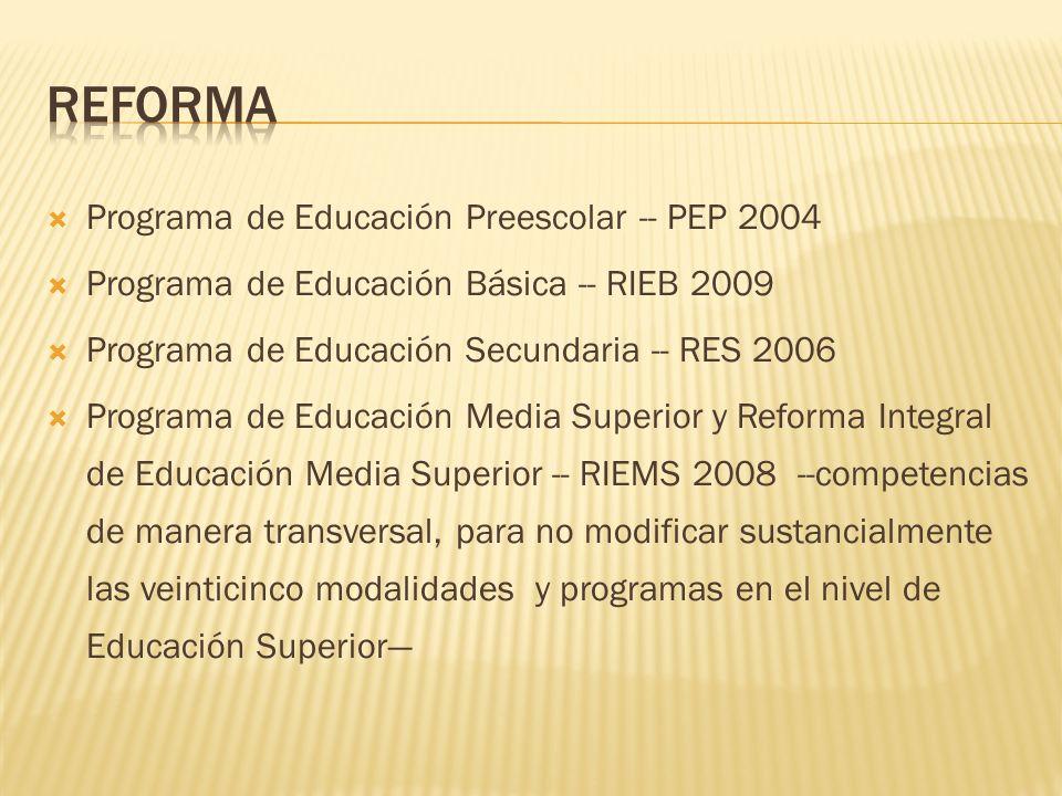 reforma Programa de Educación Preescolar -- PEP 2004