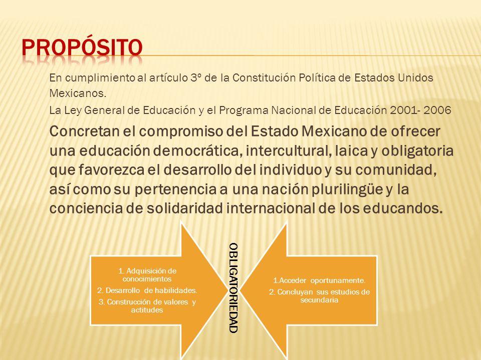 Propósito En cumplimiento al artículo 3º de la Constitución Política de Estados Unidos Mexicanos.