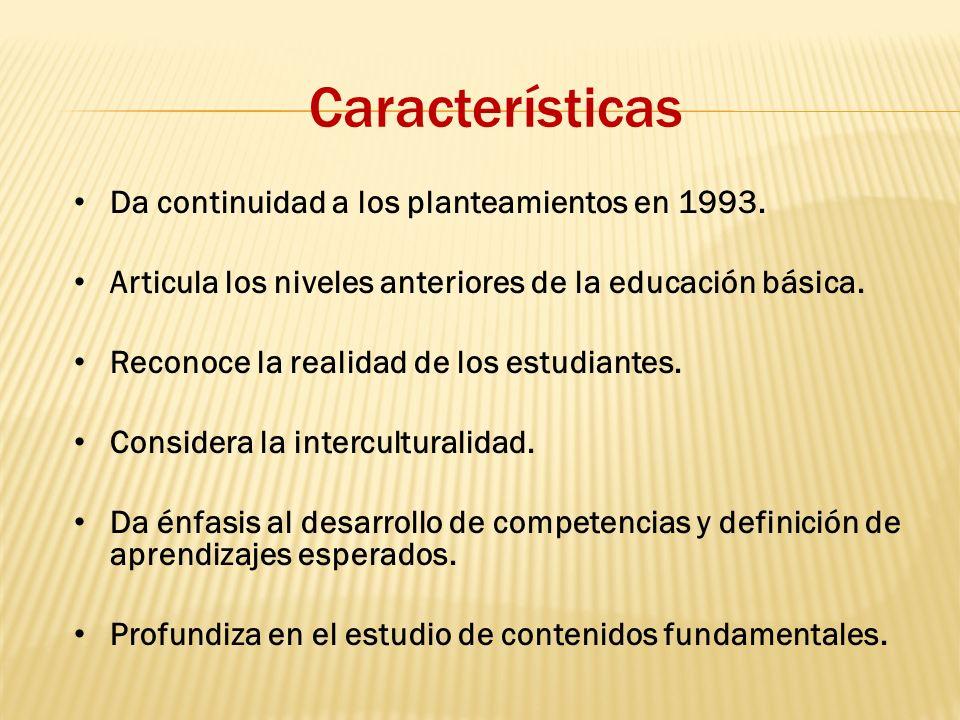 Características Da continuidad a los planteamientos en 1993.