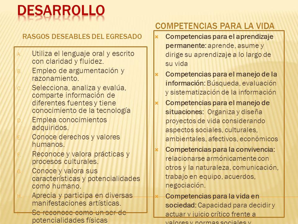 DESARROLLO COMPETENCIAS PARA LA VIDA