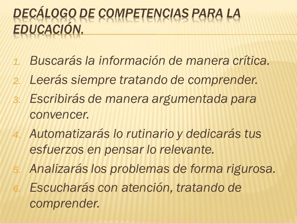 DECÁLOGO DE COMPETENCIAS PARA LA EDUCACIÓN.