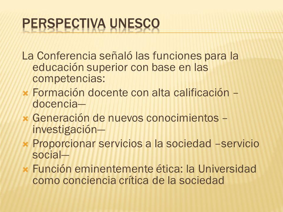 Perspectiva UNESCO La Conferencia señaló las funciones para la educación superior con base en las competencias: