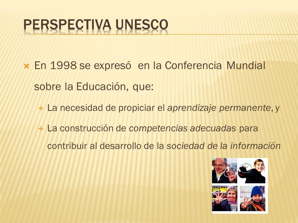 Perspectiva UNESCO En 1998 se expresó en la Conferencia Mundial sobre la Educación, que: La necesidad de propiciar el aprendizaje permanente, y.